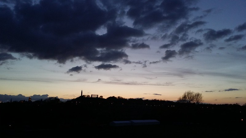 Calton Hill silhouetted against the night sky #sh