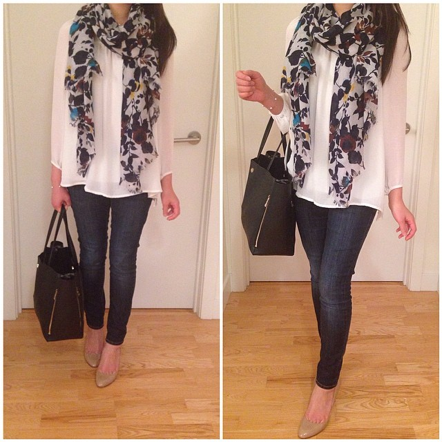 Yesterday's #ootd wearing my favorite cream blouse from #Zara. Still loving this floral scarf from #AnnTaylor.
