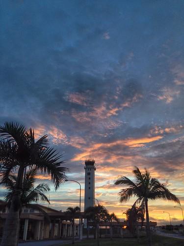 sun tower japan clouds sunrise airport pov terminal palm palmtrees okinawa amc oki hdr iphone kadena iphoneography