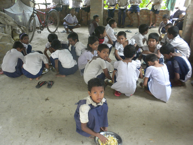 Mid-day Meal of the students of Ismail Israfil Free primary school at North-East Thakurchak Village of South 24 Parganas.