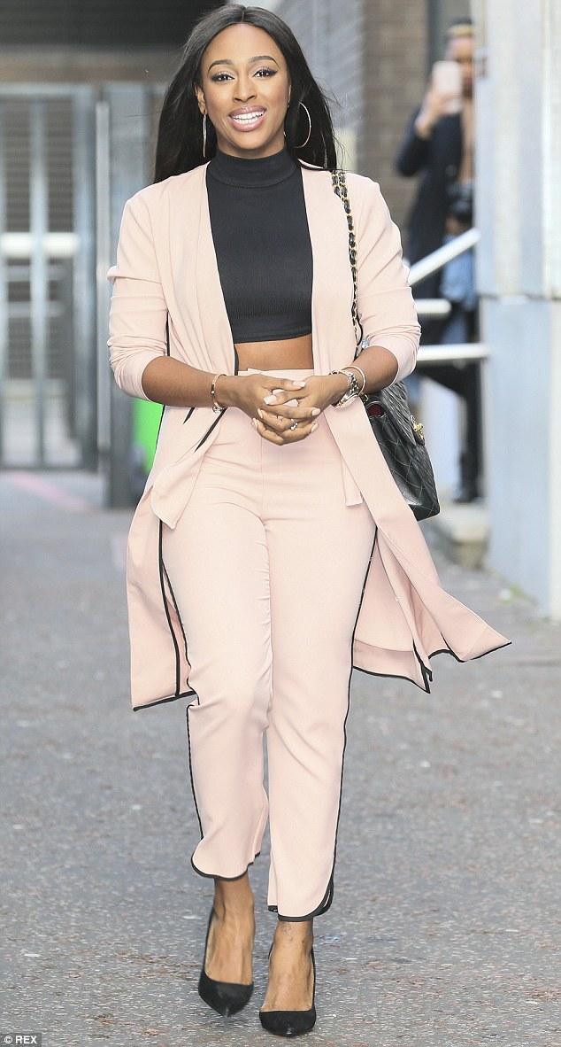 Dolphin-Hem-Black-Pocket-Detail-Duster-Coat-Dusky-Pink,lightweight dusky pink jacket, Dolphin Hem Black Pocket Detail Duster Coat Dusky Pink, tapered trousers, black high neck crop top, black quilted bag & heels, pink tapered trousers