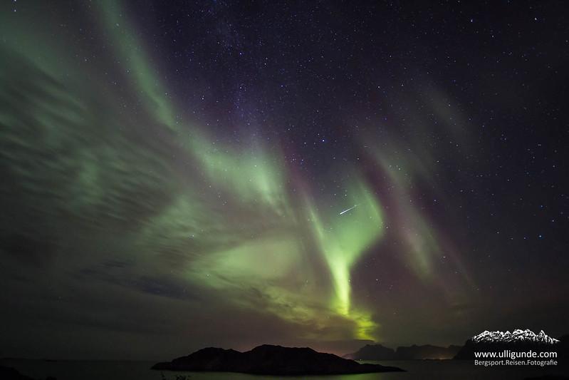Nordlichter, Lofoten. Norwegen.