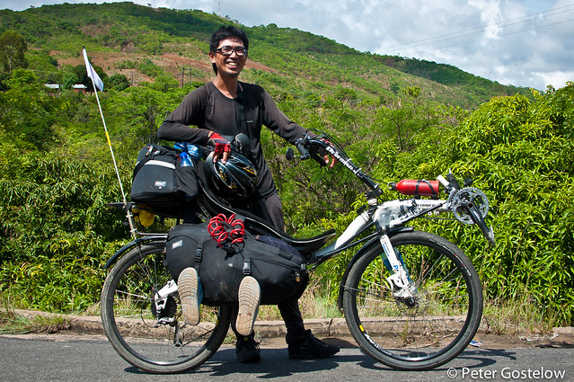 Japanese cyclist on a recumbent