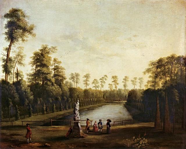 Jacob Philipp Hackert - Parklandschaft mit dem Goldfischteich im Berliner Tiergarten I (1761)