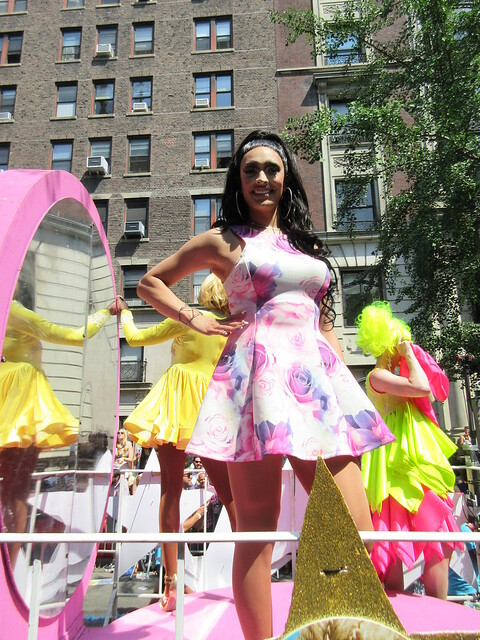 RuPaul's All Stars Drag Race (season 2) cast members Coco Montrese, Tatianna and Detox on the Logo TV float in NYC Pride, The March, New York City, USA 2016