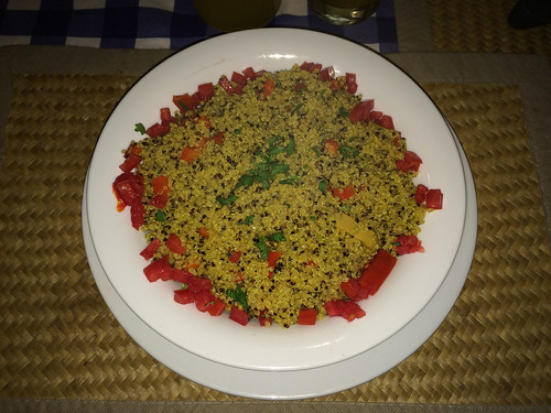 Caraz: quinoa de curry aux champignons (inspiré de la cuisine asiatique). Un régal !