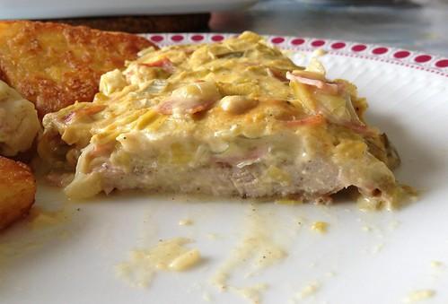 Lauch-Frischkäse-Schweineschnitzel - Querschnitt / Leek cream cheese pork schnitzel - cross section