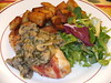 Pancetta-wrapped chicken bread with tarragon mushroom sauce