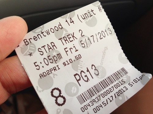 day137: the 5:05 showing of Star Trek Into Darkness by walelia