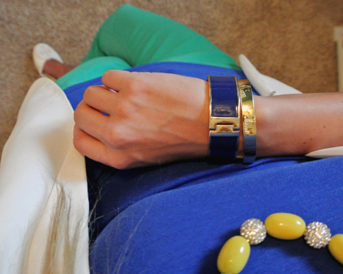 Outfit kelly green-cobalt-white