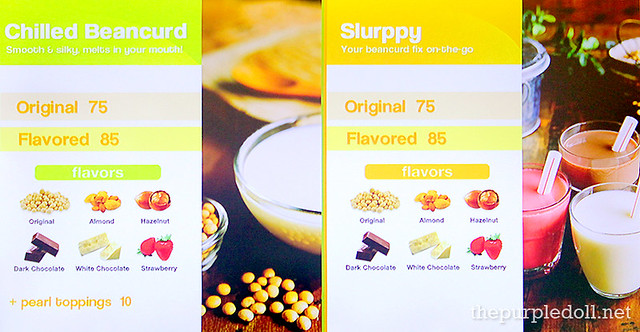 YummySoy Chilled Beancurd and Slurppy Menu
