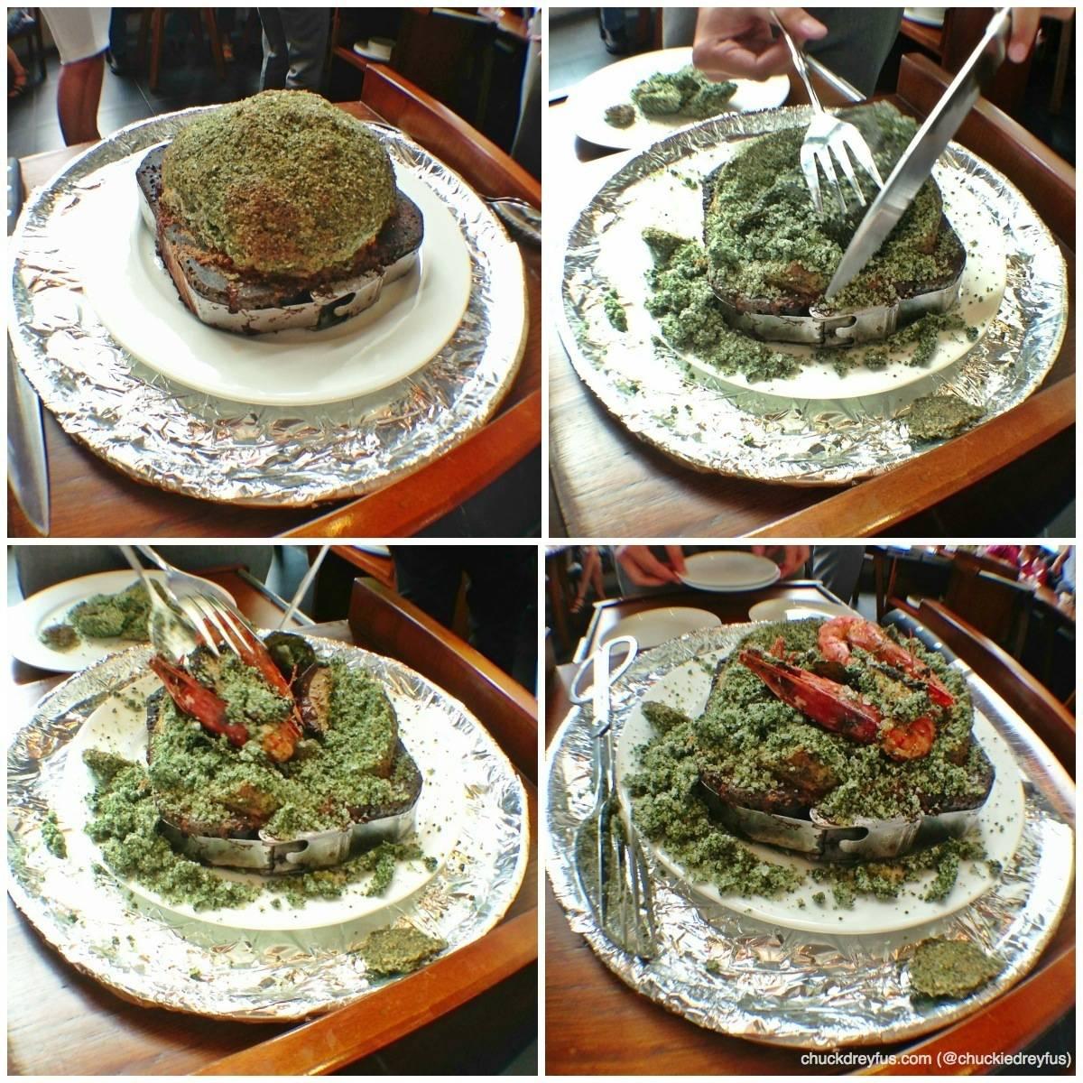 King Prawn with Mushrooms Wrapped in Seaweed Salt