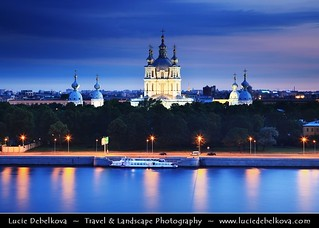Russia - Saint Petersburg - Venice of the North - UNESCO World Heritage Site - Smolny Convent on the bank of the River Neva