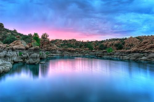 sunset arizona usa lake reflection nature water crimson landscape nikon rocks day desert cloudy le nd vegetation geology prescott watsonlake americansouthwest