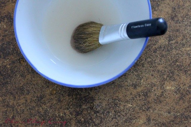 Brush in cleaning liquid - by Chic n Cheap Living