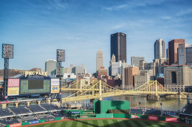 PNC Park at the Pittsburgh skyline from the upper deck at dusk