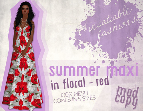 [IF] Lazy Sunday Item: Summer Maxi in Floral - [Red]