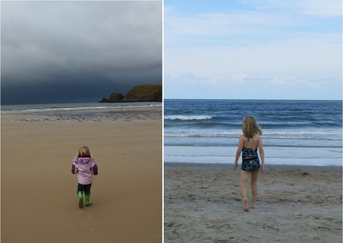 Same girl. Same ocean. Opposite coasts. Opposite seasons. Four years apart.