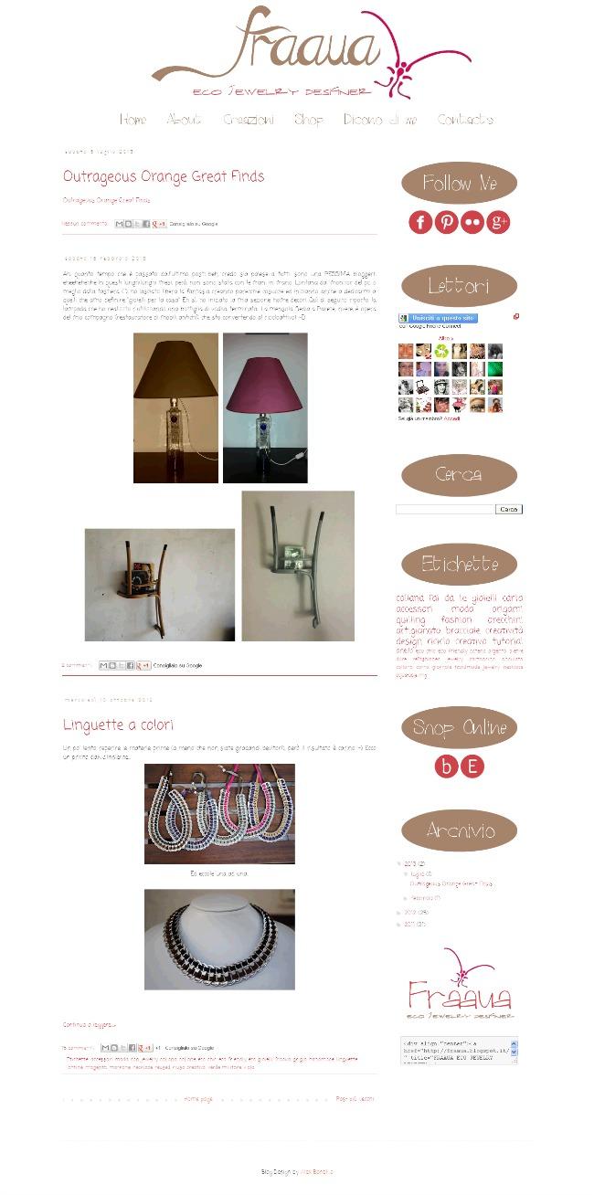 home page fraaua, blog design, Blogger template, grafica blog