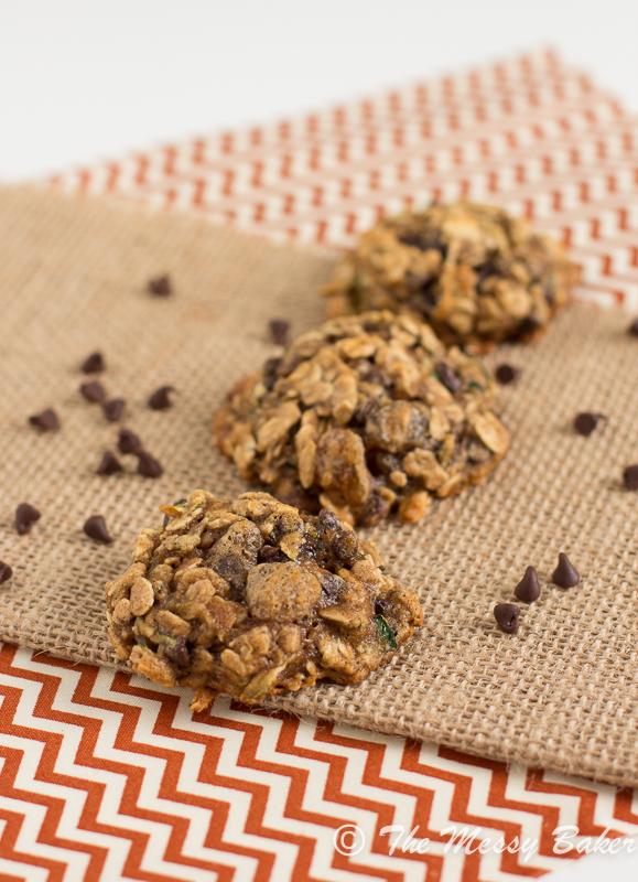 Skinny Chocolate Chip Zucchini Oat Cookies | www.themessybakerblog.com -8469