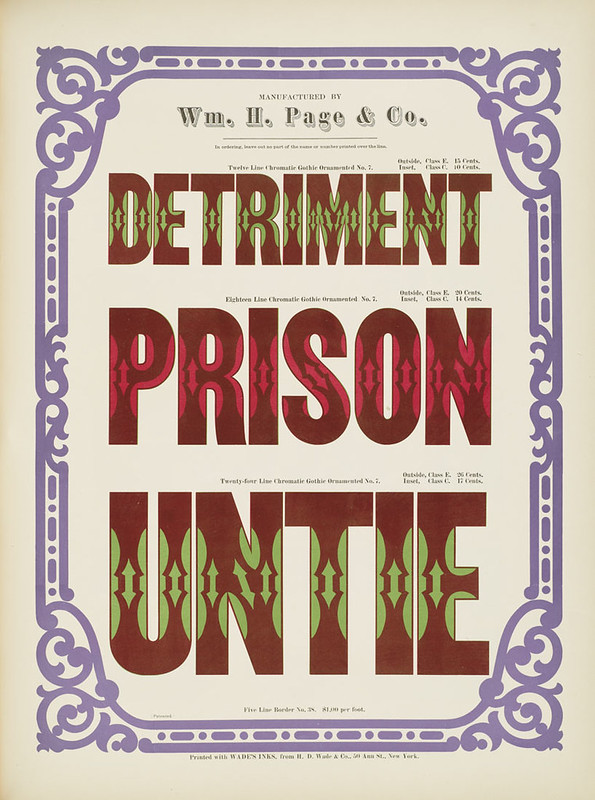 Specimens of chromatic wood type, borders 1874 - [via Columbia U] (Detriment + Prison + Unite) Gothic ornamented type