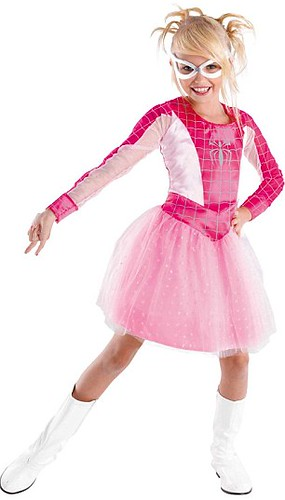 A pink spider girl costume with a skirt.