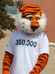 Aubie wearing the 2013 Beat Bama Food Drive Goal t-shirt