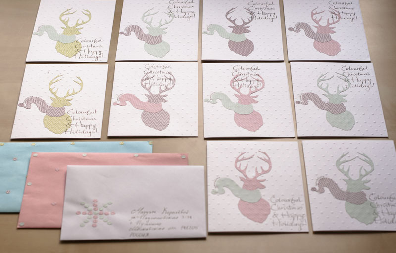 New handmade christmas cards ready to be sent