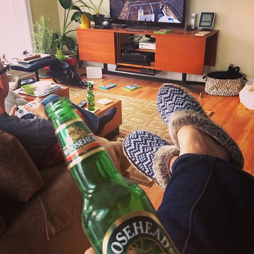 3:00 #hourlyphoto - A beer amid the Christmas mess. And video games.