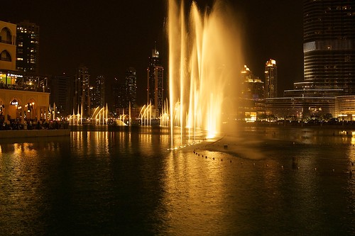 Dubai mall fountain show at night