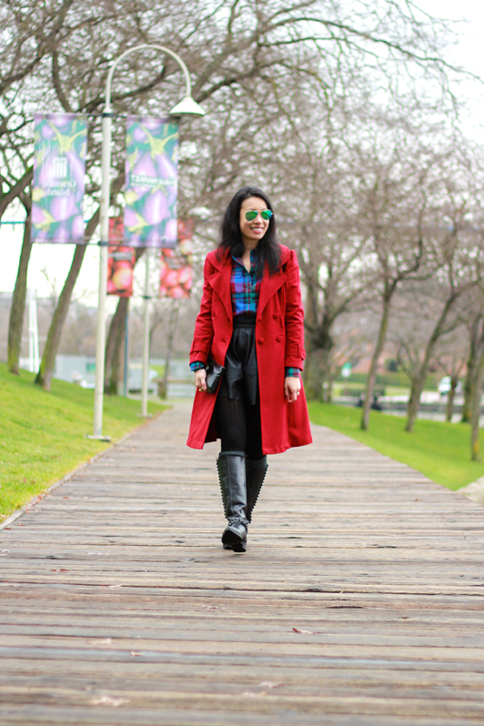 Zara studded boots, Target boot socks, J. Crew garnet flame plaid shirt, ASOS faux leather skater skirt, Ray-Ban green mirrored aviator sunglasses, OhKuol gemstone ring, eShakti custom trench coat, fashion, blogger, style, Vancouver