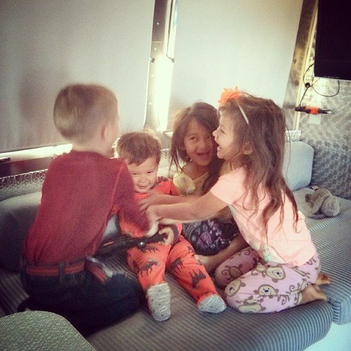 Tickle sesh. #soblurrybutidontcare #memoriesfirst #littleairstreamfriends #airstream #liveriveted
