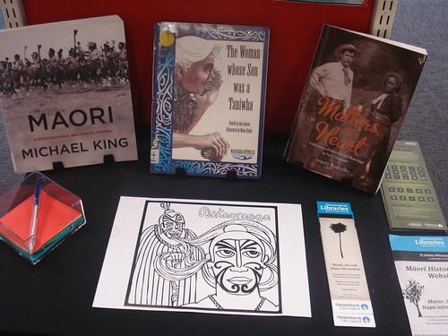 Whanau display at Shirley Library