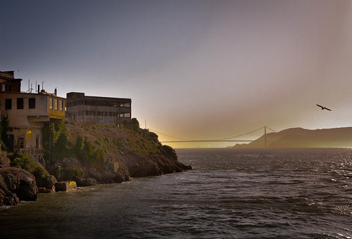 Alcatraz at Sunset with Golden Gate Bridge