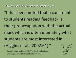 "Educational Postcard: ""Why you don't grade and give feedback"""