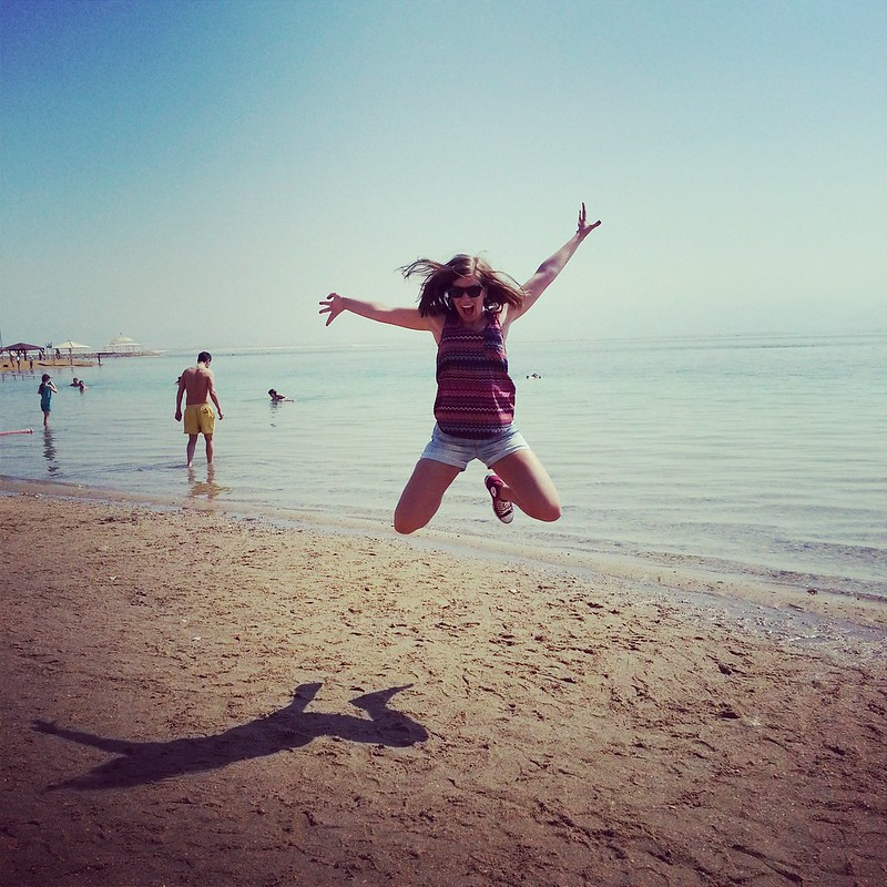Myself jumping by the Dead Sea