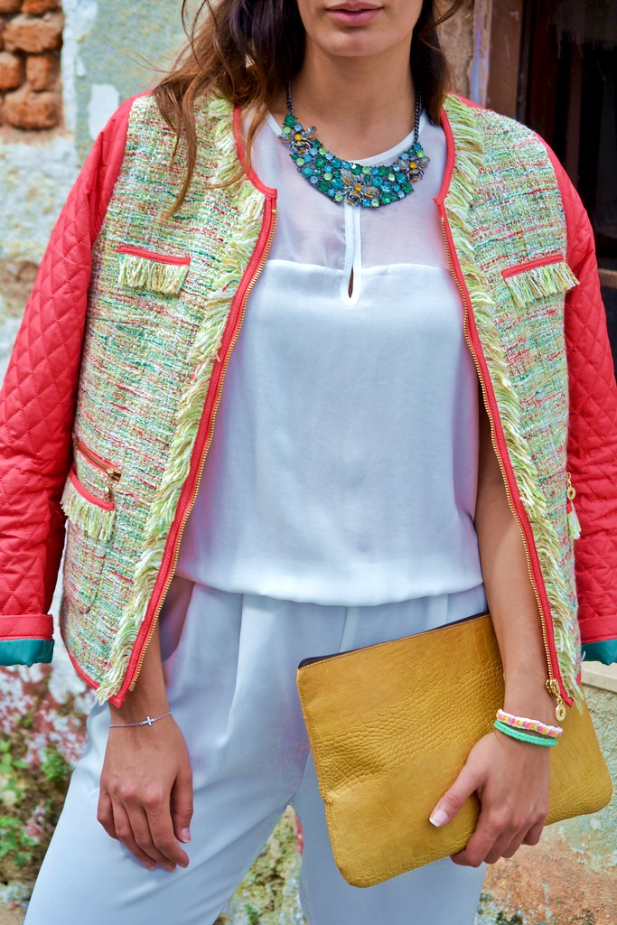 chaqueta de tweed de cortefiel-my collage life