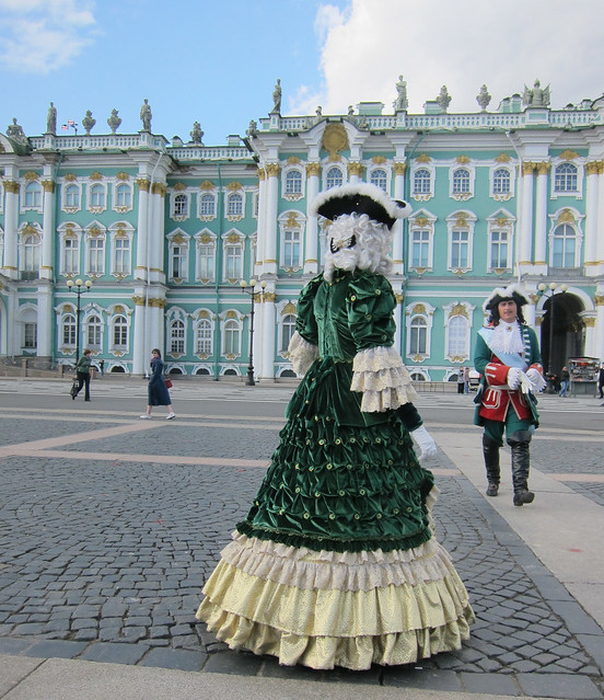 a green rococoo dress