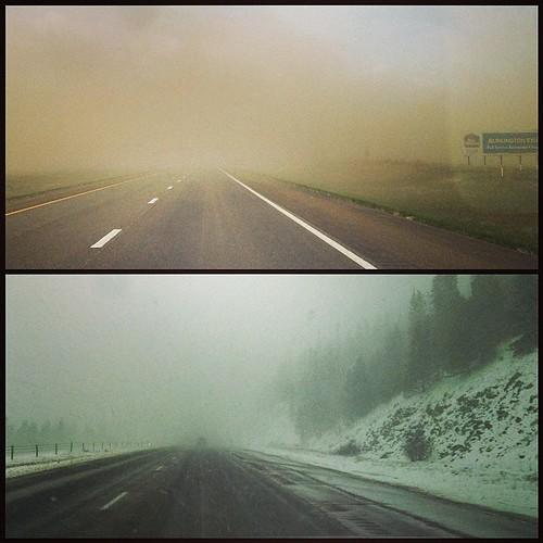 Crazy drive today! Dust storm in Kansas .... Snow storm in Colorado. #adventure