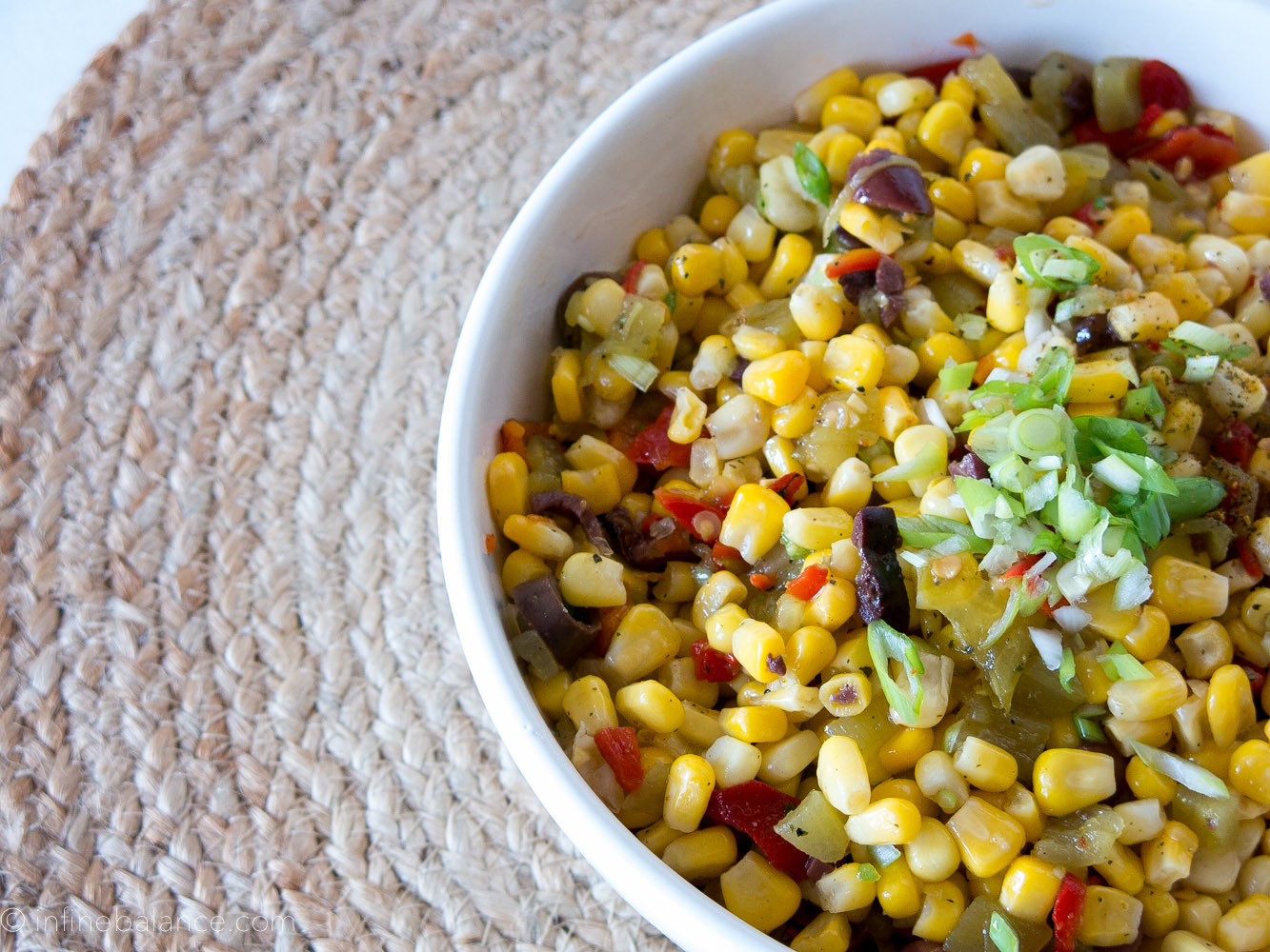 Sweet Corn and Green Chili Slaw summer slaw salads roasted red peppers olives corn chilli BBQ