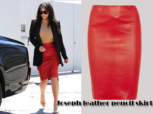 Red Joseph leather pencil skirt: Office style