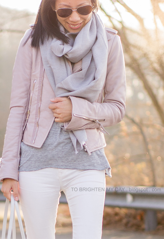 gray scarf, lilac pink leather jacket, gray top, white jeans