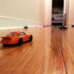 """He found the best place in the house to roll his cars.  Oh, and here is """"daddy's favorite!"""""""