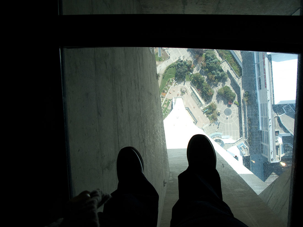 Standing on the glass floor at CN Tower