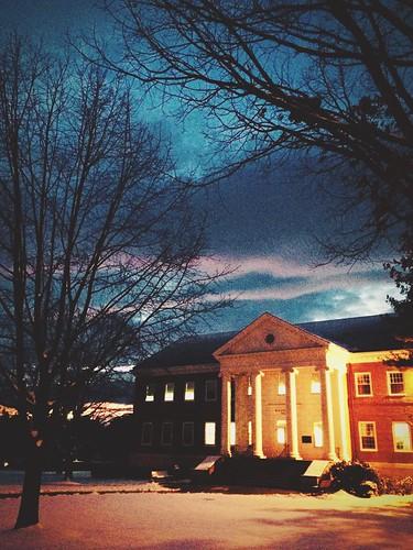 winter sunset college clouds sno liberalarts hoodcollege rosenstockhall