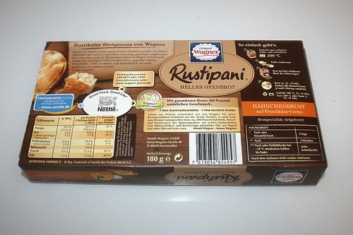 02 - Wagner Rustipani Hähnchenbrust auf Frischkäse-Creme / Chicken breast on cream cheese - Packung hinten / Package back