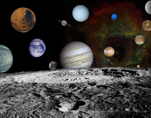 Solar System Montage of Voyager Images
