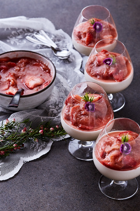 Coconut Panna Cotta with Strawberry Rhubarb Compote