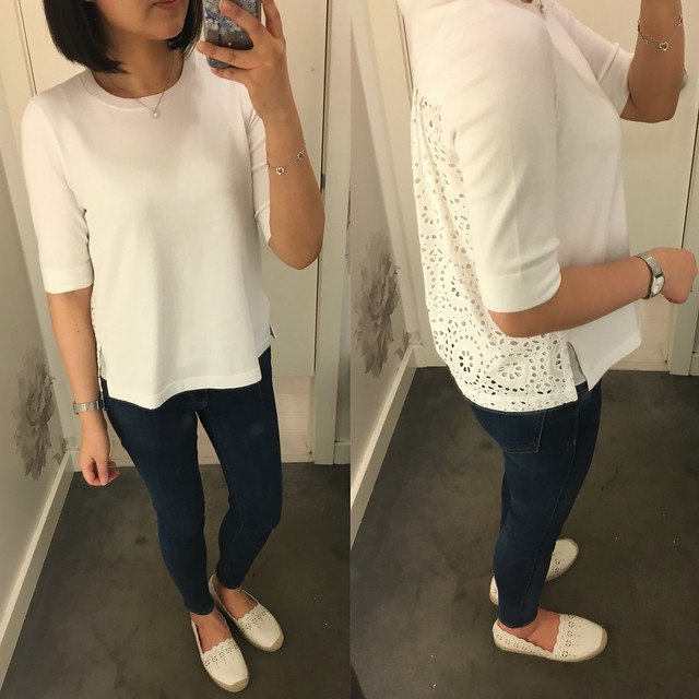 Ann Taylor Eyelet Back Top in white, size S regular