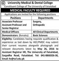 The University of Faislabad Jobs 2016